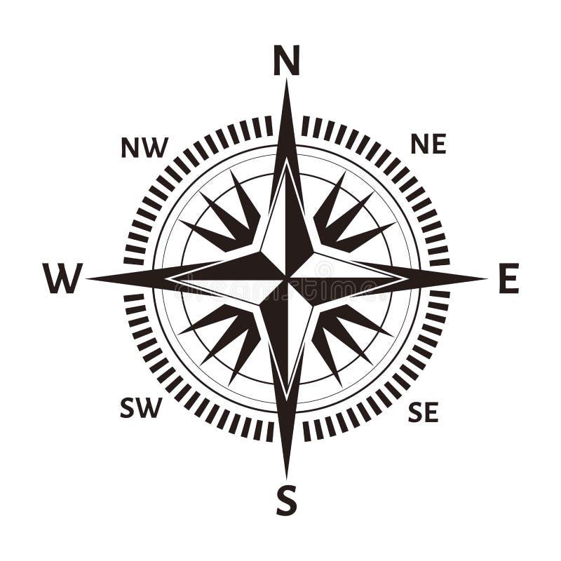 Ícone cor-de-rosa do compasso ou do vento da navegação Mapa náutico do vetor ou marinho retro da cartografia com norte, sul ilustração royalty free