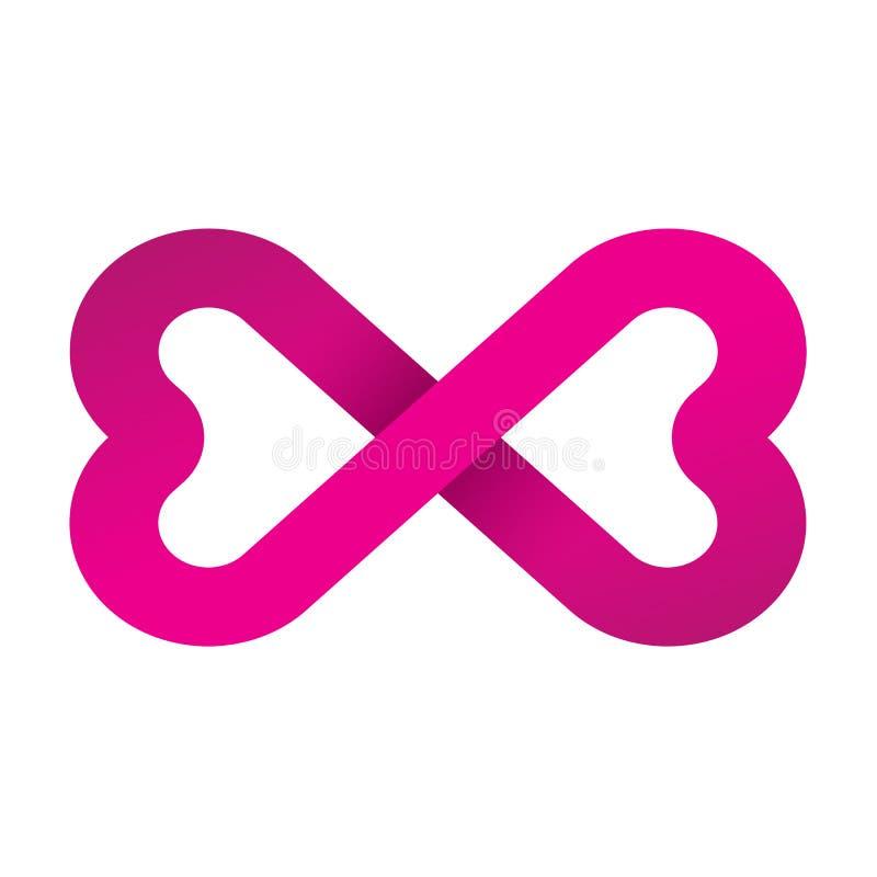 Ícone cor-de-rosa do logotipo do símbolo do amor do símbolo da infinidade ilustração stock