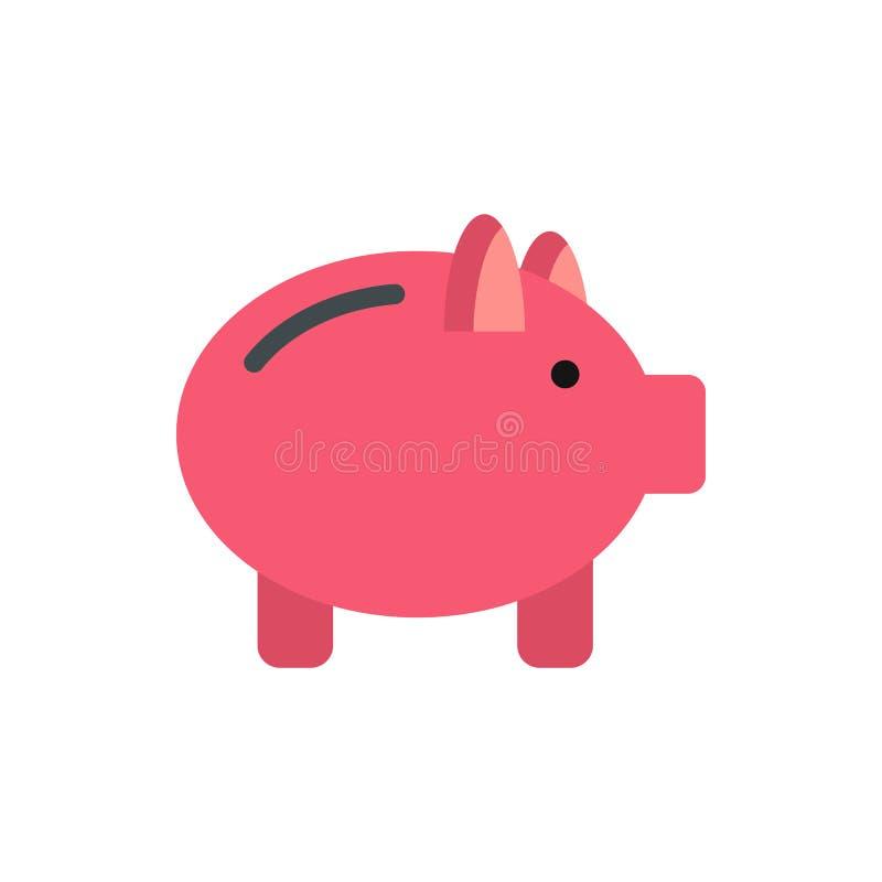 Ícone cor-de-rosa do mealheiro, estilo liso ilustração do vetor