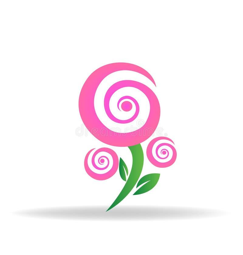 Ícone cor-de-rosa do vetor do logotipo da flor cor-de-rosa ilustração royalty free