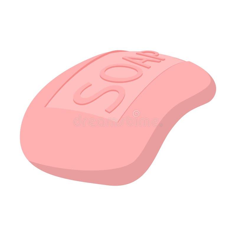 Ícone cor-de-rosa dos desenhos animados do sabão ilustração do vetor