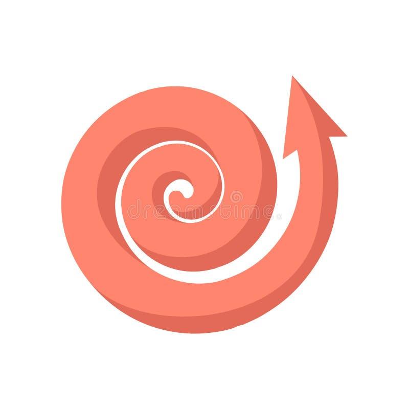 Ícone cor-de-rosa de ondulação dos desenhos animados da seta ilustração stock