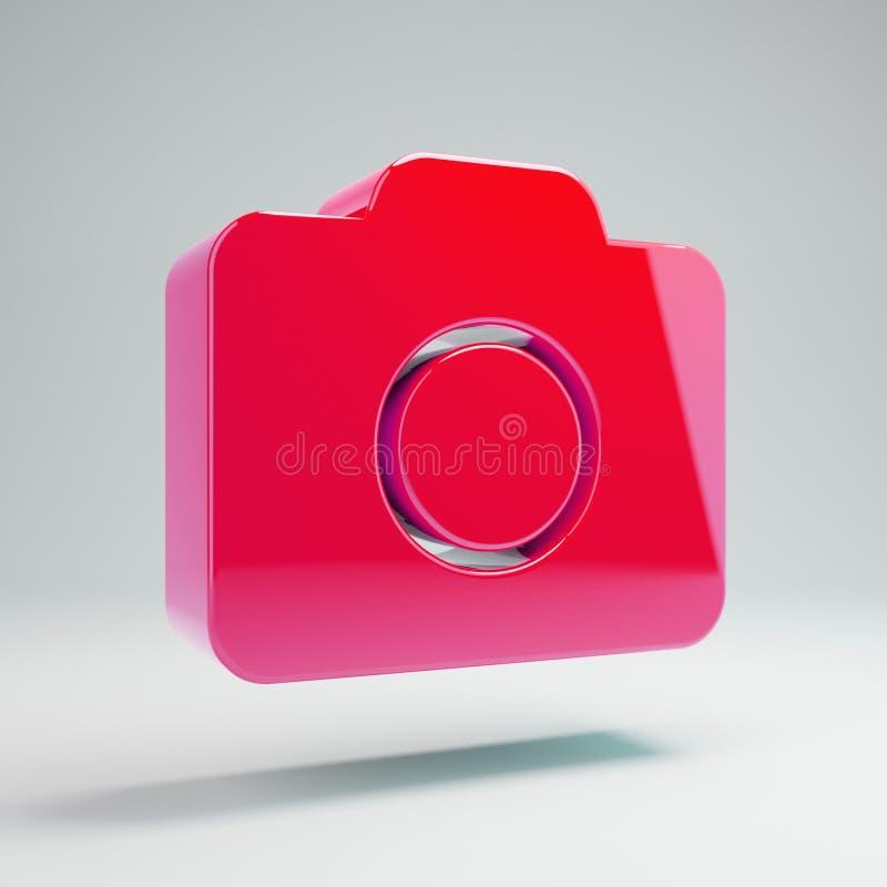 Ícone cor-de-rosa quente lustroso volumétrico da câmera da foto isolado no fundo branco ilustração do vetor