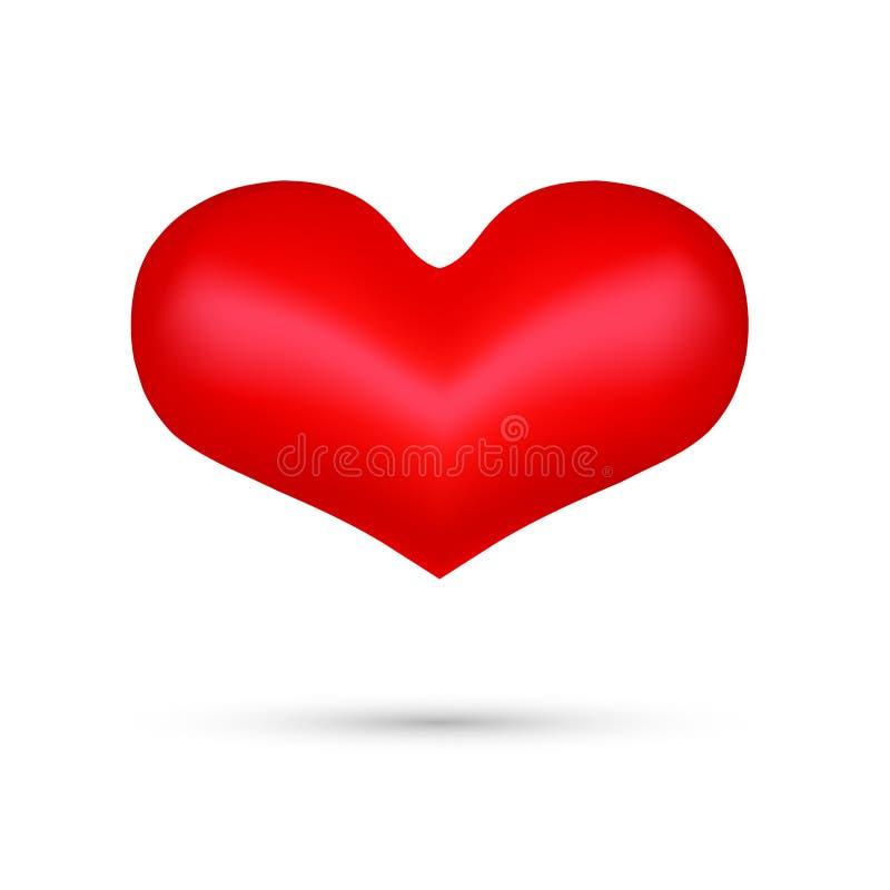 Ícone - coração vermelho largamente ilustração royalty free