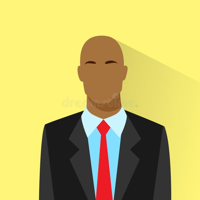 Ícone corajoso afro-americano do perfil do homem de negócios ilustração do vetor