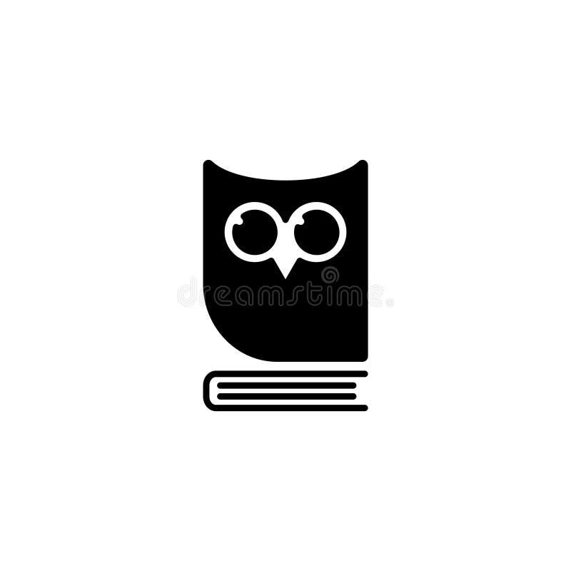 ícone Coruja no livro, logotipo, emblema da educação ilustração do vetor