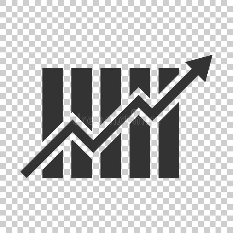 Ícone crescente do gráfico de barra no estilo liso Aumente o illu do vetor da seta ilustração stock
