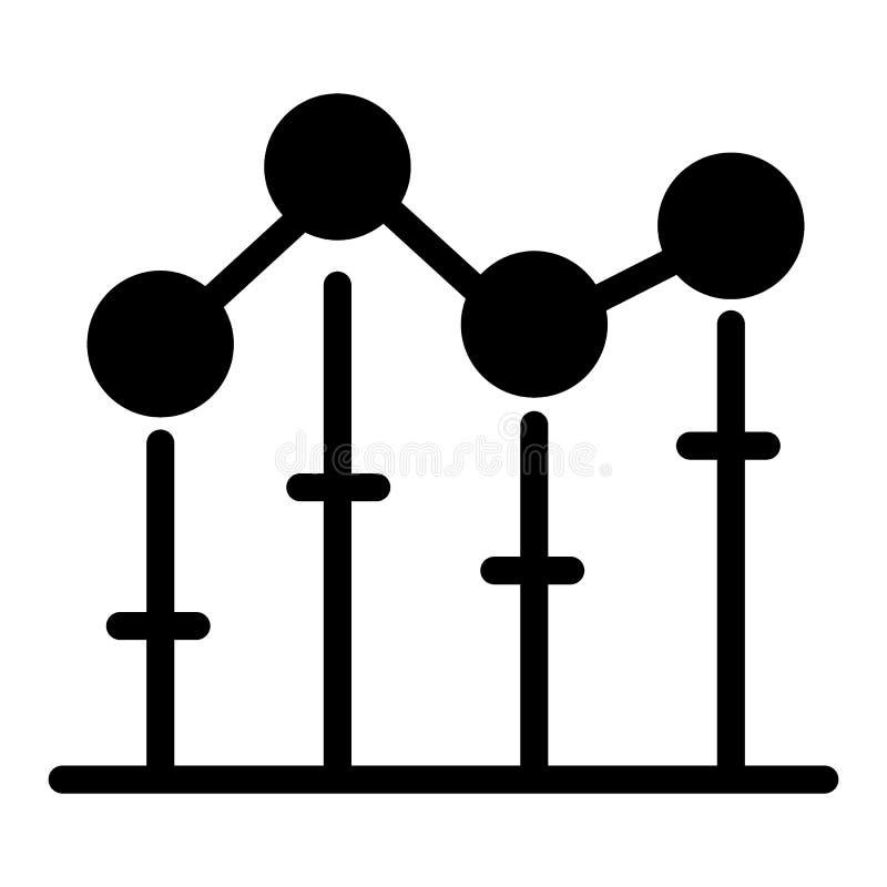 Ícone crescente do sólido do gráfico dos estoques Ilustração do vetor do diagrama isolada no branco Projeto do estilo do glyph do ilustração royalty free
