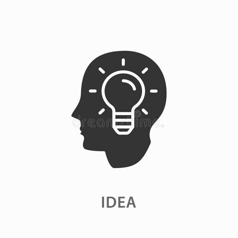 Ícone criativo da ideia do cérebro no fundo branco ilustração stock