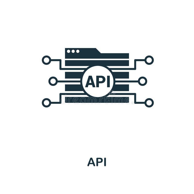 Ícone criativo do Api Ilustração simples do elemento Projeto do símbolo do conceito do Api da coleção do desenvolvimento da Web A ilustração do vetor