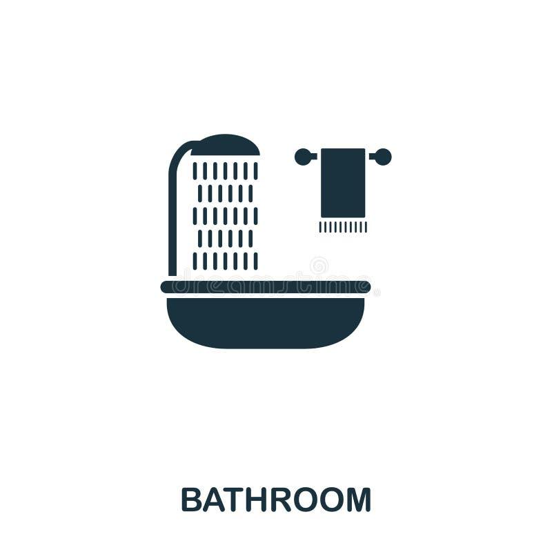 Ícone criativo do banheiro Ilustração simples do elemento Projeto do símbolo do conceito do banheiro da coleção dos bens imobiliá ilustração stock