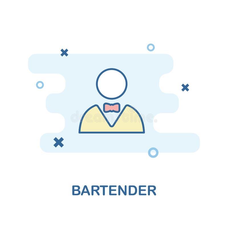 Ícone criativo do barman na cor Ilustração simples do elemento Projeto do símbolo do conceito do barman da coleção da barra e do  ilustração royalty free