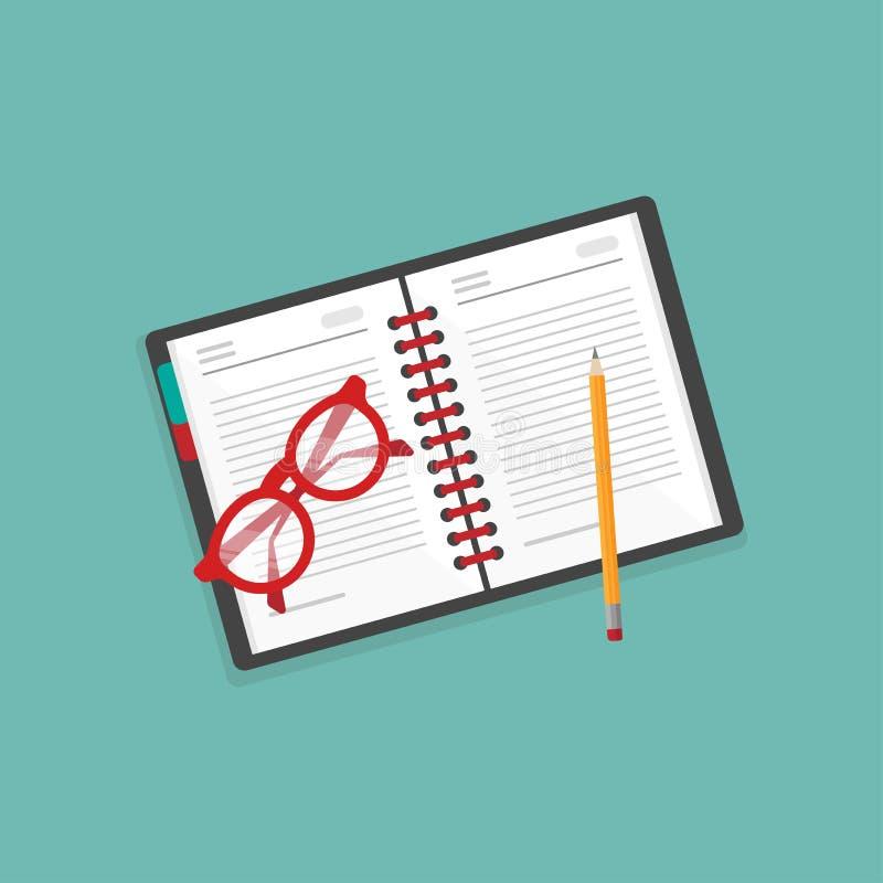 Ícone criativo do local de trabalho do escritor livro de nota, vidros vermelhos e lápis no fundo azul estilo de vida do redator ilustração royalty free