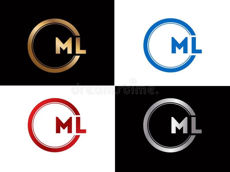 Ícone criativo moderno de prata preto do vetor do projeto do logotipo da letra do alfabeto do ouro do texto do ML ilustração do vetor