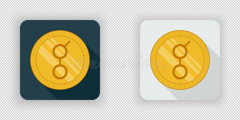 Ícone cripto da moeda do Golem claro e escuro ilustração royalty free