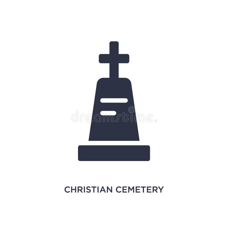 ícone cristão do cemitério no fundo branco Ilustração simples do elemento do conceito das construções ilustração stock