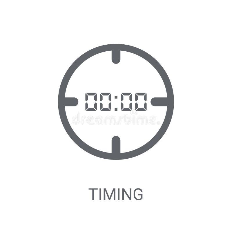 Ícone cronometrando Conceito cronometrando na moda do logotipo no fundo branco de ilustração stock