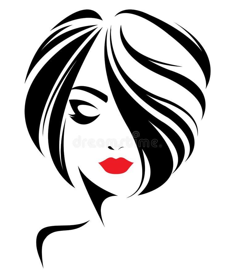 Ícone curto do penteado das mulheres, cara das mulheres do logotipo no fundo branco ilustração do vetor