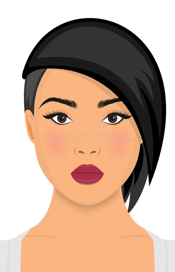 Ícone curto do penteado das mulheres, cara das mulheres do logotipo no fundo branco Vetor ilustração royalty free