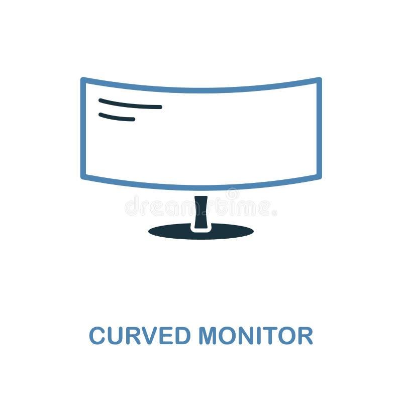 Ícone curvado do monitor em duas cores Símbolo simples do elemento Projeto curvado do ícone do monitor da coleção do computador A ilustração royalty free