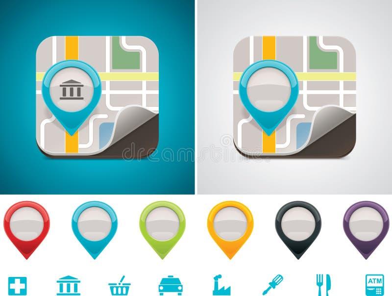 Ícone customizável da posição do mapa ilustração do vetor