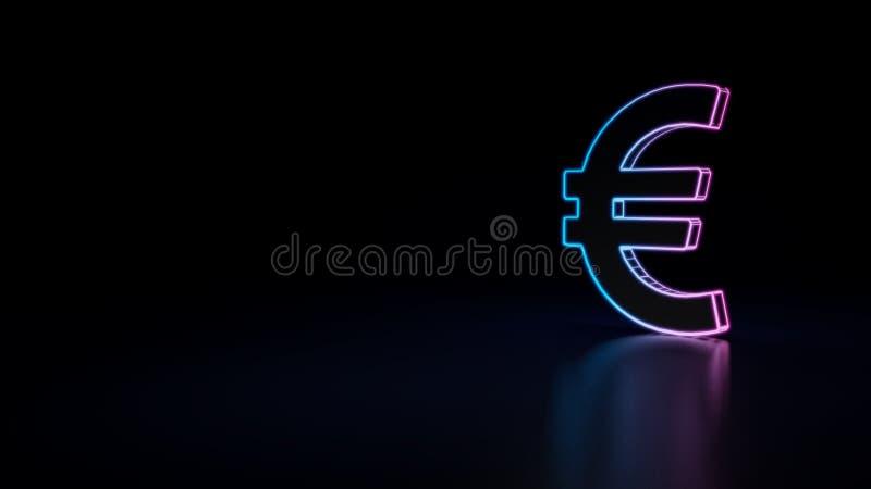 ícone 3d da euro- moeda ilustração royalty free