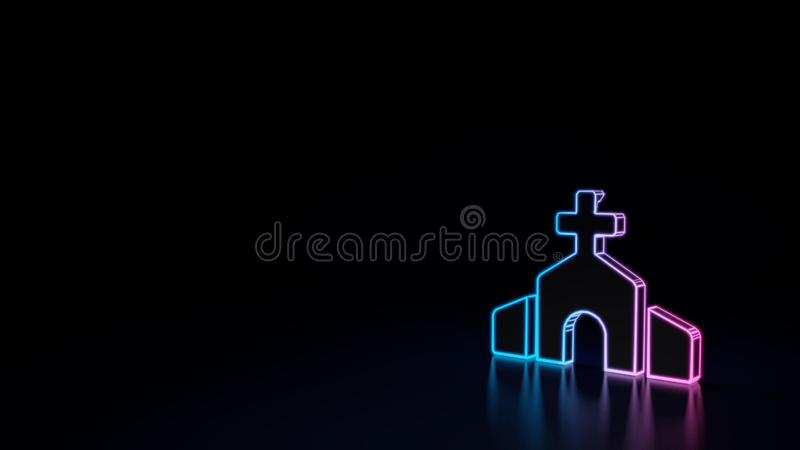ícone 3d da igreja ilustração stock
