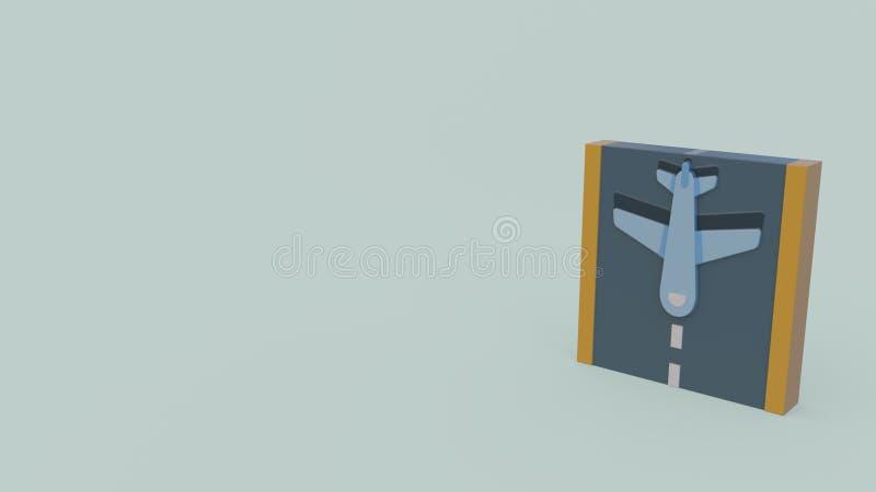 ícone 3d de um avião na pista de decolagem ilustração royalty free