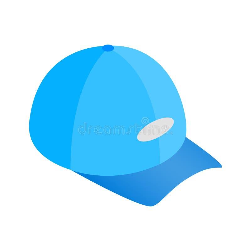 Ícone 3d isométrico azul do chapéu de basebol ilustração do vetor