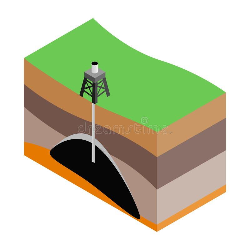 Ícone 3d isométrico da extração do óleo ilustração do vetor