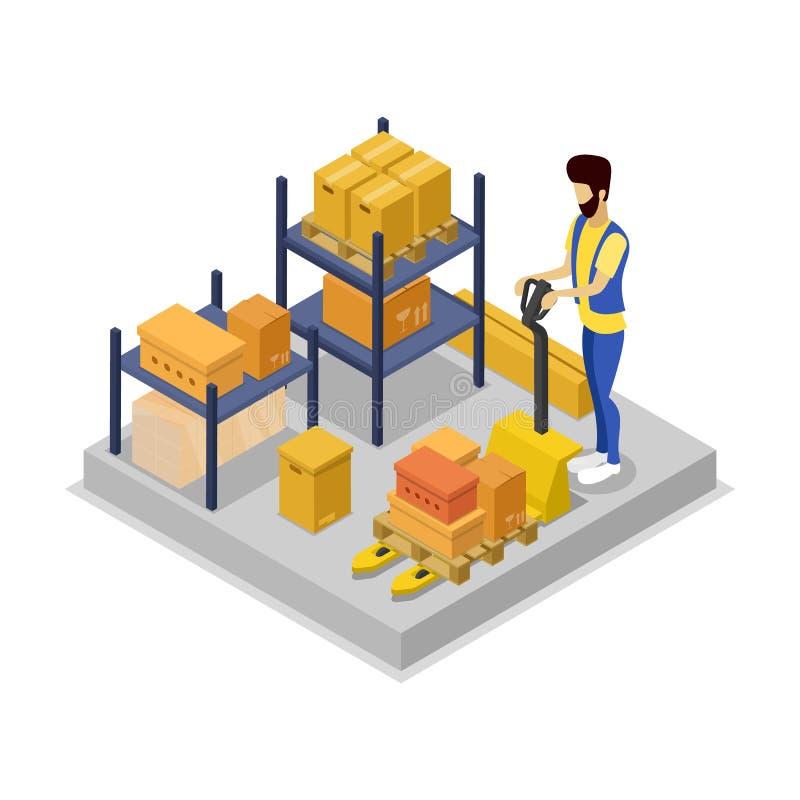Ícone 3D isométrico da gestão do armazém ilustração royalty free