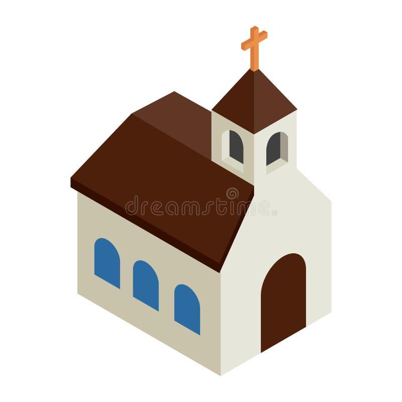 Ícone 3d isométrico da igreja Católica ilustração stock