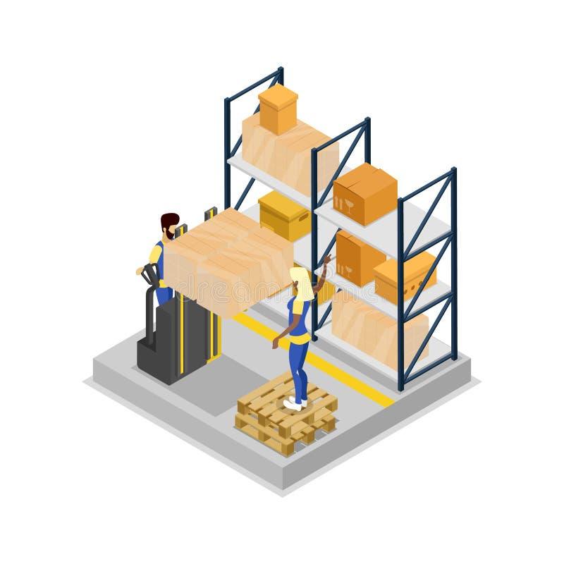 Ícone 3D isométrico da logística do armazém ilustração do vetor