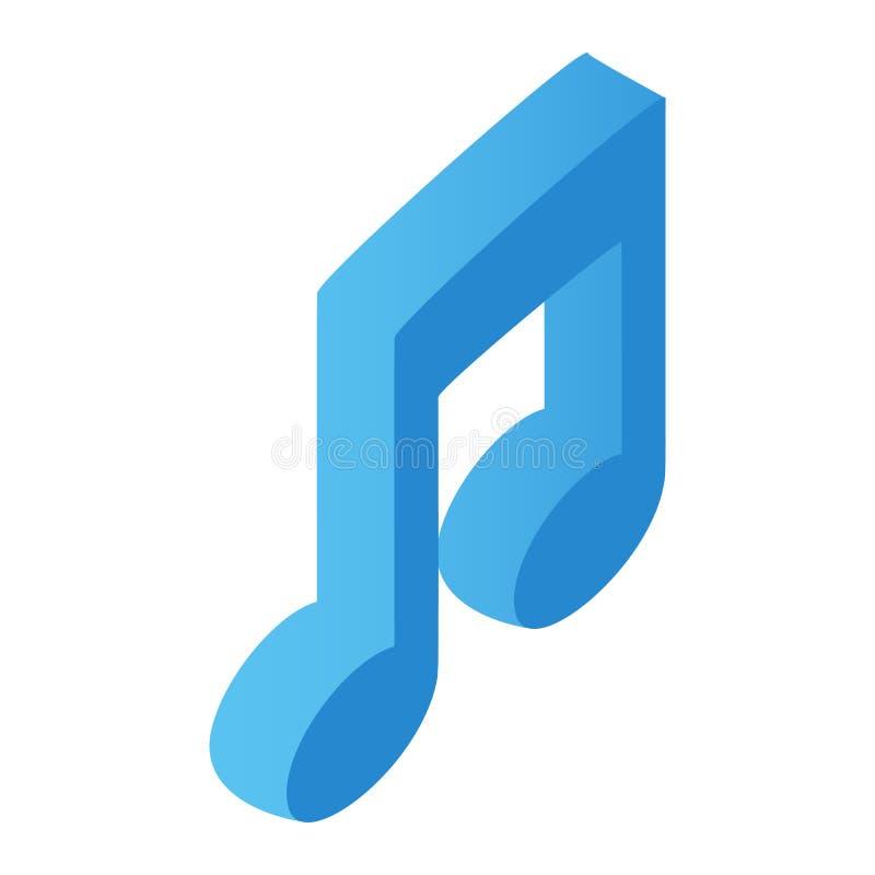 Ícone 3d isométrico da nota da música ilustração stock