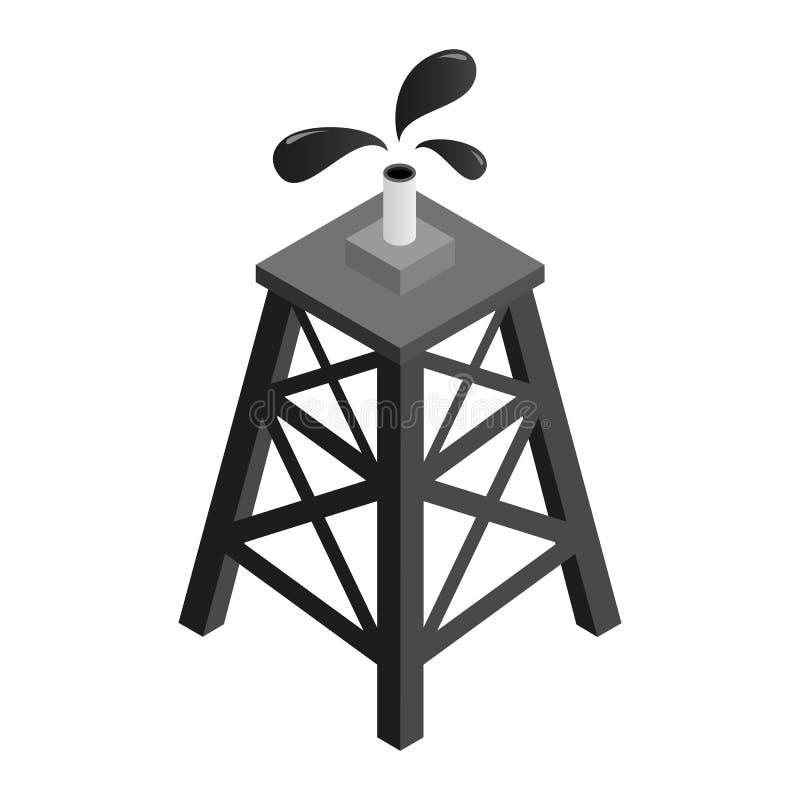 Ícone 3d isométrico da plataforma petrolífera ilustração do vetor