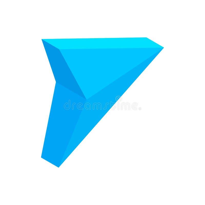 Ícone 3d isométrico da seta triangular azul ilustração royalty free