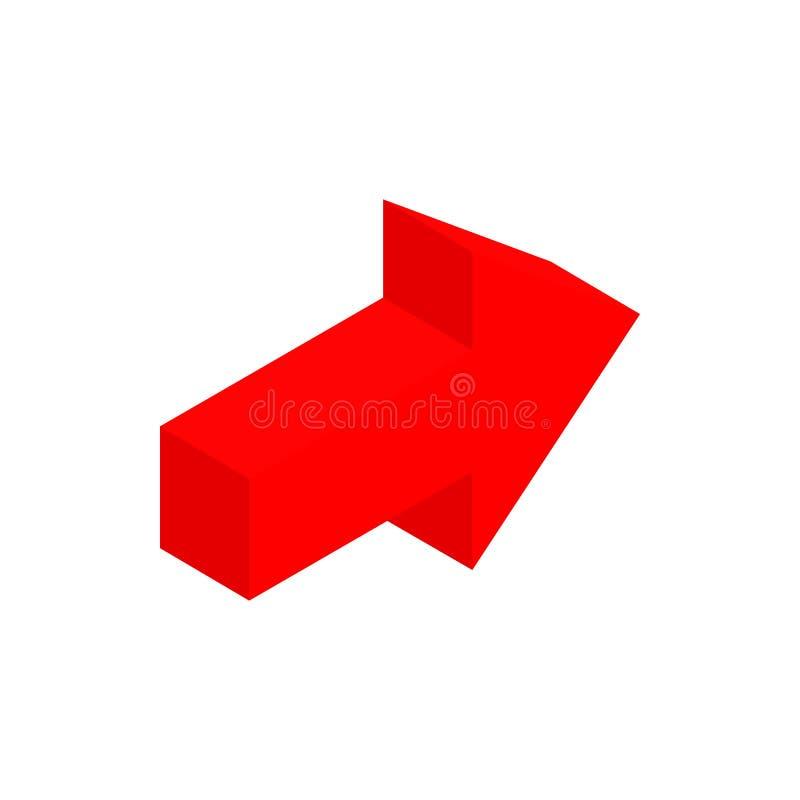 Ícone 3d isométrico da seta vermelha ilustração royalty free
