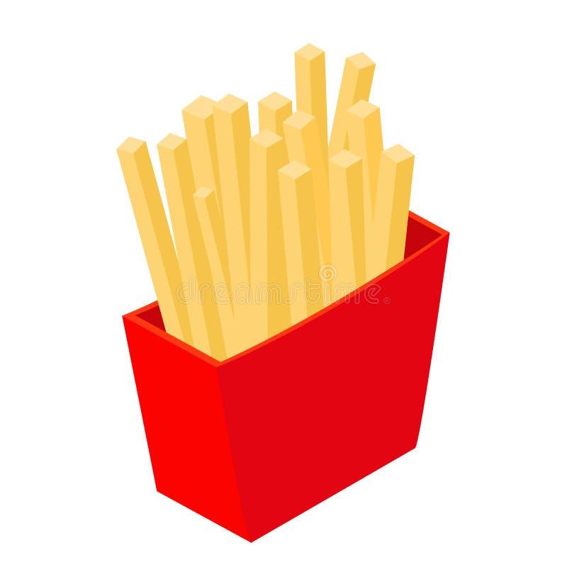 Ícone 3d isométrico das batatas fritas ilustração stock