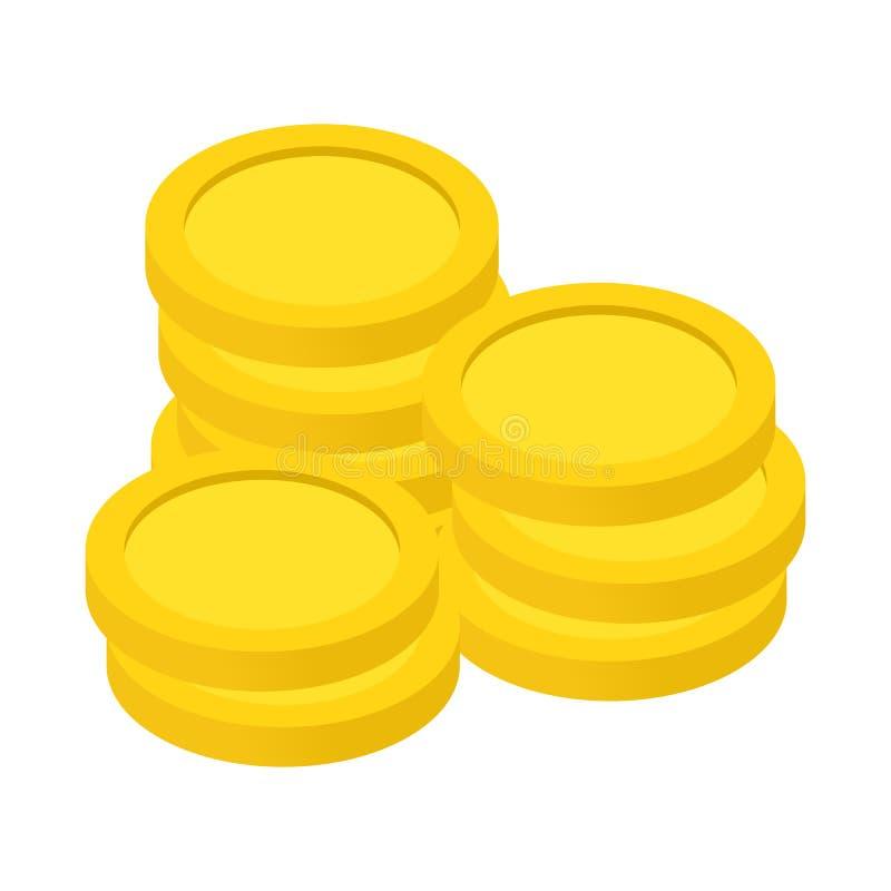 Ícone 3d isométrico das moedas de ouro ilustração royalty free