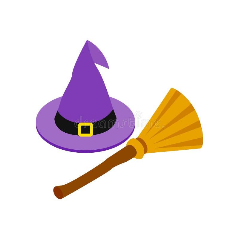 Ícone 3d isométrico do chapéu e da vassoura da bruxa ilustração royalty free