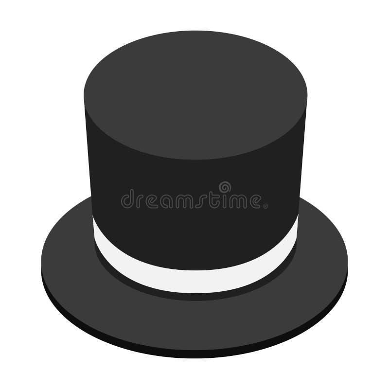 Ícone 3d isométrico do chapéu negro mágico ilustração stock