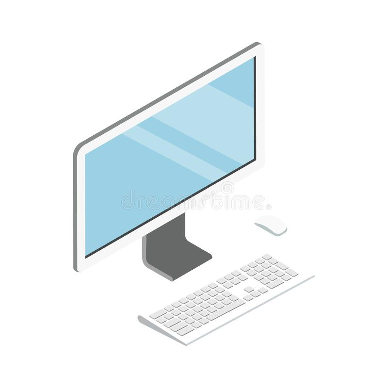 Ícone 3D isométrico do computador de secretária ilustração royalty free