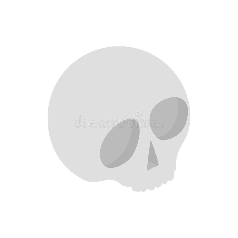 Ícone 3d isométrico do crânio humano ilustração stock
