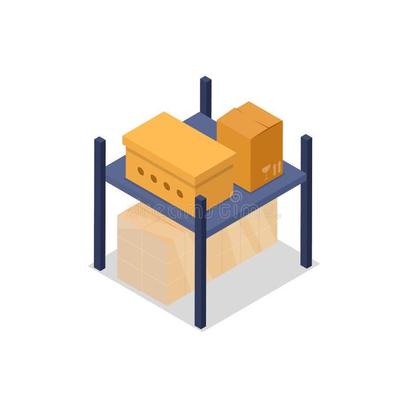 Ícone 3D isométrico do elemento interior do armazém ilustração stock