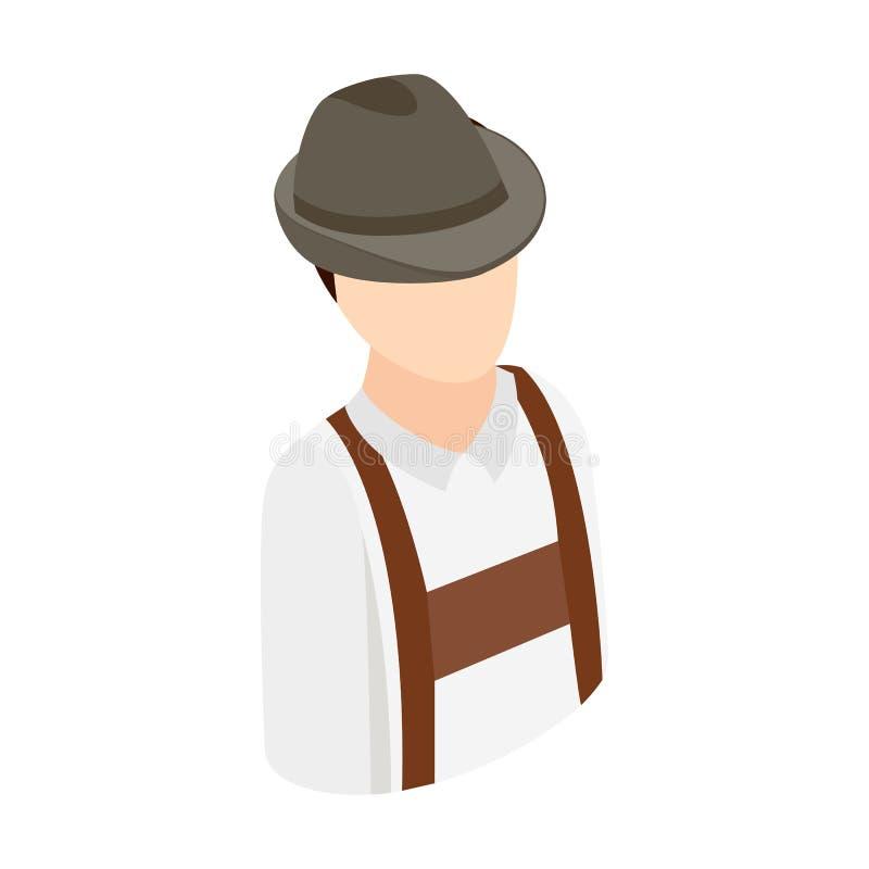 Ícone 3d isométrico do homem de Oktoberfest ilustração do vetor