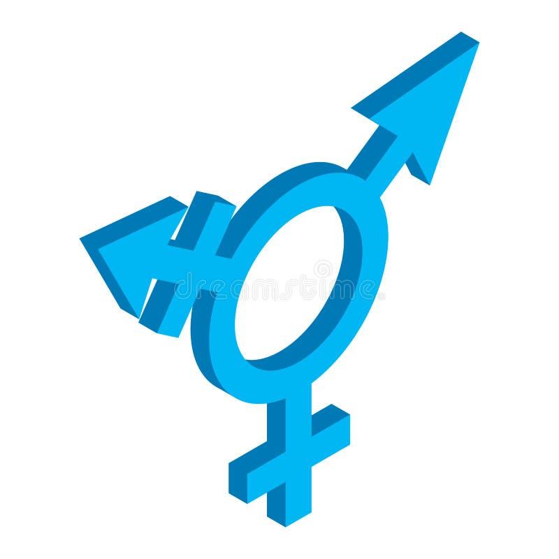 Ícone 3d isométrico do sinal dos Bisexuals ilustração royalty free