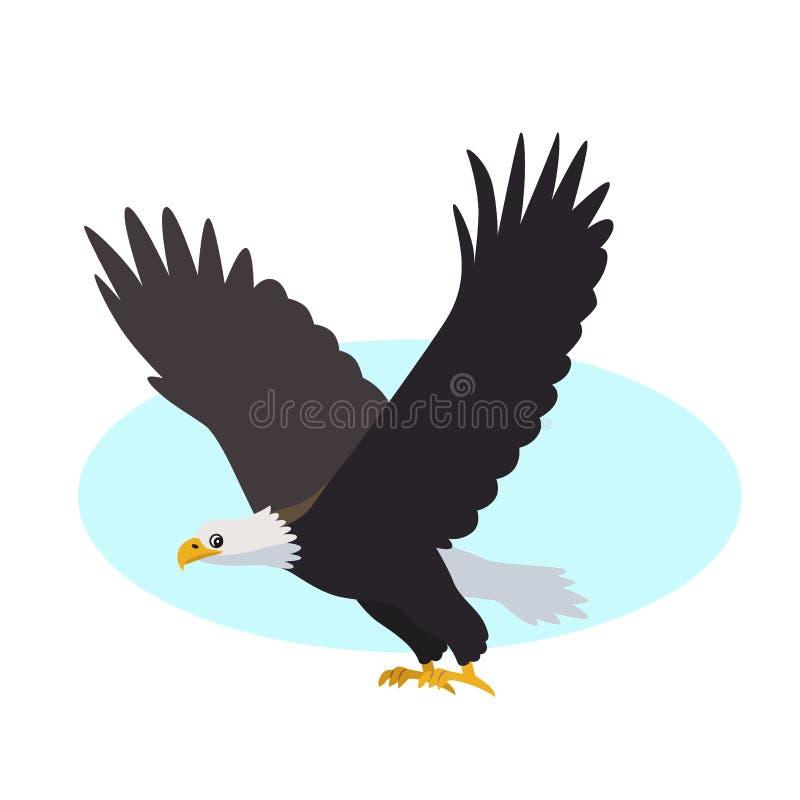 Ícone da águia americana isolado no fundo branco, pássaro predatório ilustração stock