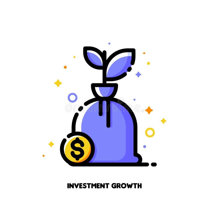 Ícone da árvore crescente do dinheiro com sinal de dólar para o conceito financeiro do crescimento Estilo enchido plano do esbo?o ilustração do vetor