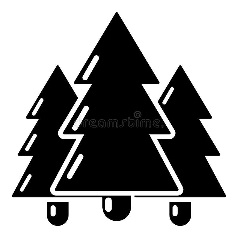 Ícone da árvore de abeto, estilo preto simples ilustração royalty free