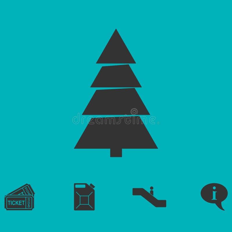 Ícone da árvore de abeto horizontalmente ilustração stock